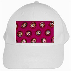 Digitally Painted Abstract Polka Dot Swirls On A Pink Background White Cap by Nexatart