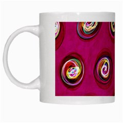 Digitally Painted Abstract Polka Dot Swirls On A Pink Background White Mugs by Nexatart