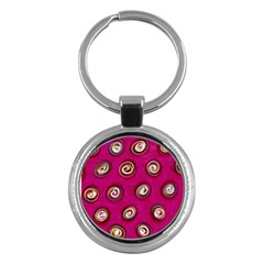 Digitally Painted Abstract Polka Dot Swirls On A Pink Background Key Chains (round)  by Nexatart