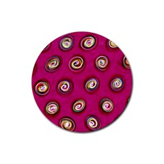 Digitally Painted Abstract Polka Dot Swirls On A Pink Background Rubber Coaster (round)  by Nexatart