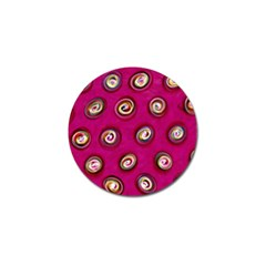 Digitally Painted Abstract Polka Dot Swirls On A Pink Background Golf Ball Marker (4 Pack)