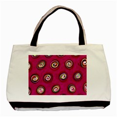 Digitally Painted Abstract Polka Dot Swirls On A Pink Background Basic Tote Bag by Nexatart