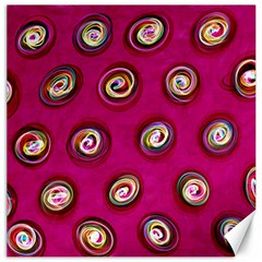 Digitally Painted Abstract Polka Dot Swirls On A Pink Background Canvas 16  X 16   by Nexatart