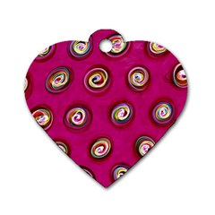 Digitally Painted Abstract Polka Dot Swirls On A Pink Background Dog Tag Heart (one Side)