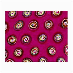 Digitally Painted Abstract Polka Dot Swirls On A Pink Background Small Glasses Cloth (2 Side) by Nexatart