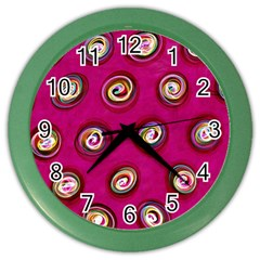 Digitally Painted Abstract Polka Dot Swirls On A Pink Background Color Wall Clocks by Nexatart
