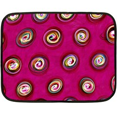 Digitally Painted Abstract Polka Dot Swirls On A Pink Background Fleece Blanket (mini) by Nexatart