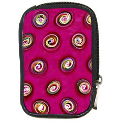 Digitally Painted Abstract Polka Dot Swirls On A Pink Background Compact Camera Cases by Nexatart