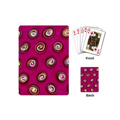 Digitally Painted Abstract Polka Dot Swirls On A Pink Background Playing Cards (mini)  by Nexatart