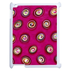Digitally Painted Abstract Polka Dot Swirls On A Pink Background Apple Ipad 2 Case (white)