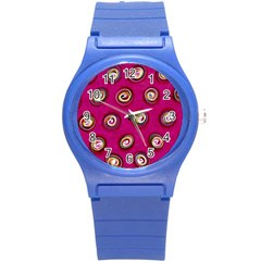 Digitally Painted Abstract Polka Dot Swirls On A Pink Background Round Plastic Sport Watch (s) by Nexatart