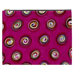 Digitally Painted Abstract Polka Dot Swirls On A Pink Background Cosmetic Bag (xxxl)