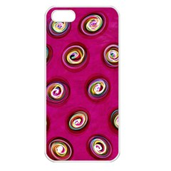 Digitally Painted Abstract Polka Dot Swirls On A Pink Background Apple Iphone 5 Seamless Case (white)