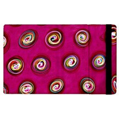 Digitally Painted Abstract Polka Dot Swirls On A Pink Background Apple Ipad 2 Flip Case by Nexatart