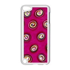 Digitally Painted Abstract Polka Dot Swirls On A Pink Background Apple Ipod Touch 5 Case (white)