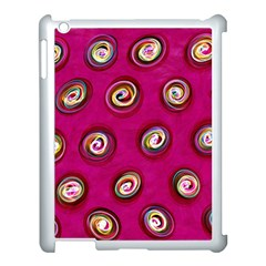 Digitally Painted Abstract Polka Dot Swirls On A Pink Background Apple Ipad 3/4 Case (white)