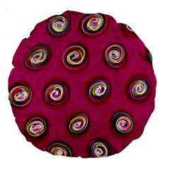 Digitally Painted Abstract Polka Dot Swirls On A Pink Background Large 18  Premium Round Cushions by Nexatart