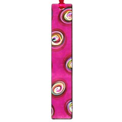 Digitally Painted Abstract Polka Dot Swirls On A Pink Background Large Book Marks by Nexatart