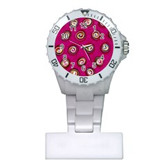 Digitally Painted Abstract Polka Dot Swirls On A Pink Background Plastic Nurses Watch