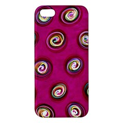 Digitally Painted Abstract Polka Dot Swirls On A Pink Background Iphone 5s/ Se Premium Hardshell Case by Nexatart