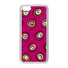 Digitally Painted Abstract Polka Dot Swirls On A Pink Background Apple Iphone 5c Seamless Case (white) by Nexatart