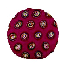 Digitally Painted Abstract Polka Dot Swirls On A Pink Background Standard 15  Premium Flano Round Cushions by Nexatart