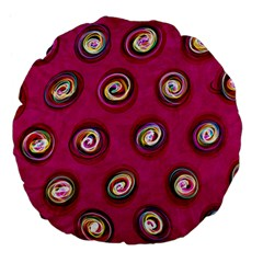 Digitally Painted Abstract Polka Dot Swirls On A Pink Background Large 18  Premium Flano Round Cushions