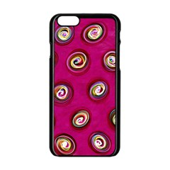 Digitally Painted Abstract Polka Dot Swirls On A Pink Background Apple Iphone 6/6s Black Enamel Case by Nexatart