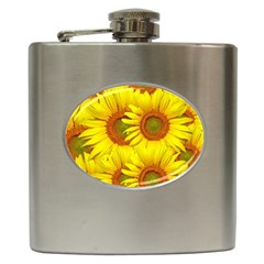 Sunflowers Background Wallpaper Pattern Hip Flask (6 Oz) by Nexatart
