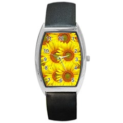 Sunflowers Background Wallpaper Pattern Barrel Style Metal Watch