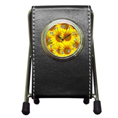 Sunflowers Background Wallpaper Pattern Pen Holder Desk Clocks by Nexatart
