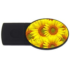 Sunflowers Background Wallpaper Pattern Usb Flash Drive Oval (4 Gb) by Nexatart