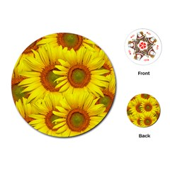Sunflowers Background Wallpaper Pattern Playing Cards (round)  by Nexatart