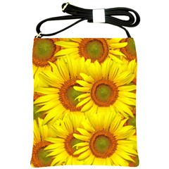 Sunflowers Background Wallpaper Pattern Shoulder Sling Bags by Nexatart