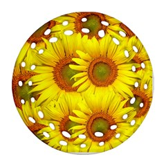 Sunflowers Background Wallpaper Pattern Ornament (Round Filigree)