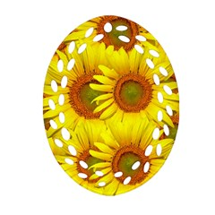 Sunflowers Background Wallpaper Pattern Oval Filigree Ornament (two Sides) by Nexatart