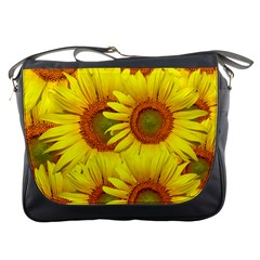 Sunflowers Background Wallpaper Pattern Messenger Bags