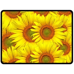 Sunflowers Background Wallpaper Pattern Double Sided Fleece Blanket (large)  by Nexatart
