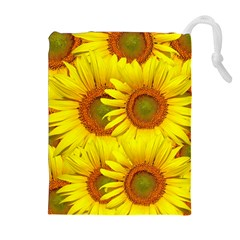 Sunflowers Background Wallpaper Pattern Drawstring Pouches (extra Large) by Nexatart