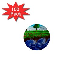 Beaded Landscape Textured Abstract Landscape With Sea Waves In The Foreground And Trees In The Background 1  Mini Buttons (100 Pack)