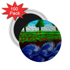 Beaded Landscape Textured Abstract Landscape With Sea Waves In The Foreground And Trees In The Background 2 25  Magnets (100 Pack)  by Nexatart