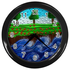 Beaded Landscape Textured Abstract Landscape With Sea Waves In The Foreground And Trees In The Background Wall Clocks (black) by Nexatart
