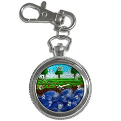 Beaded Landscape Textured Abstract Landscape With Sea Waves In The Foreground And Trees In The Background Key Chain Watches by Nexatart