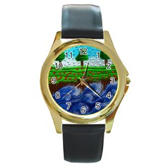 Beaded Landscape Textured Abstract Landscape With Sea Waves In The Foreground And Trees In The Background Round Gold Metal Watch by Nexatart