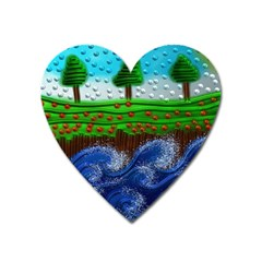 Beaded Landscape Textured Abstract Landscape With Sea Waves In The Foreground And Trees In The Background Heart Magnet by Nexatart