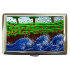 Beaded Landscape Textured Abstract Landscape With Sea Waves In The Foreground And Trees In The Background Cigarette Money Cases by Nexatart