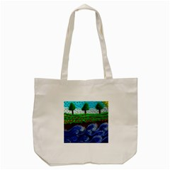 Beaded Landscape Textured Abstract Landscape With Sea Waves In The Foreground And Trees In The Background Tote Bag (cream)