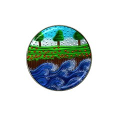 Beaded Landscape Textured Abstract Landscape With Sea Waves In The Foreground And Trees In The Background Hat Clip Ball Marker (4 Pack) by Nexatart
