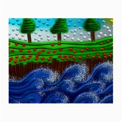 Beaded Landscape Textured Abstract Landscape With Sea Waves In The Foreground And Trees In The Background Small Glasses Cloth by Nexatart
