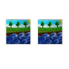 Beaded Landscape Textured Abstract Landscape With Sea Waves In The Foreground And Trees In The Background Cufflinks (square) by Nexatart